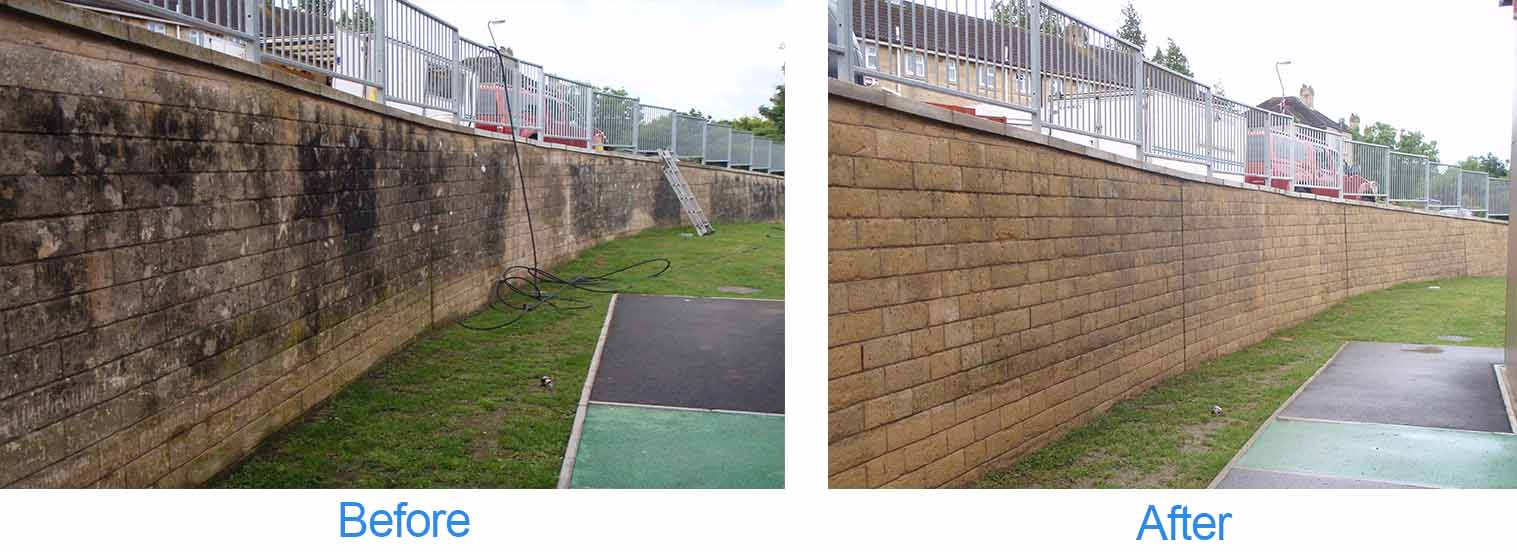 before and after photos of a wall after pressure washing treatment