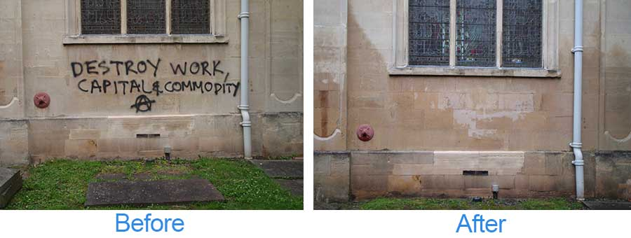 Before and after graffiti cleaning images of a wall on a property