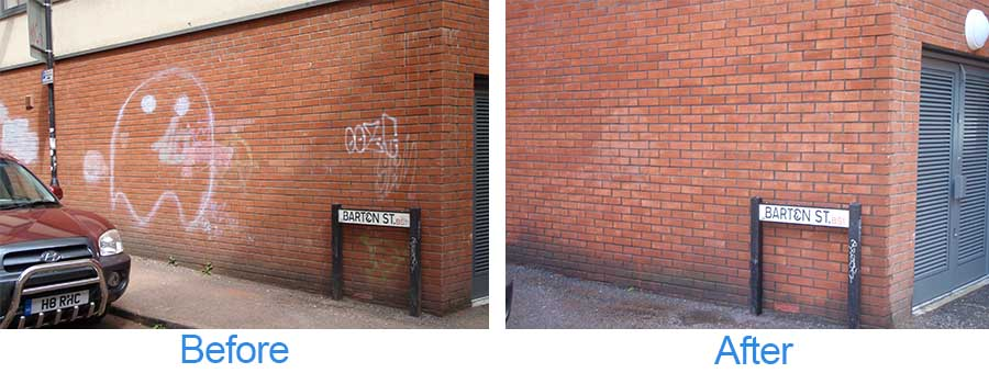 Before and after graffiti cleaning images on a red brick wall