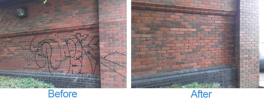 Before and after photos of graffiti cleaning service on a brick exterior wall